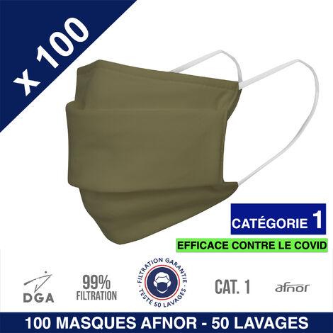 HEROLAB - 100 masques en tissu lavables et réutilisables UNS 1 - Grand Public Afnor DGA - CATEGORIE 1- Filtration 99% - 50 lavages - KAKI