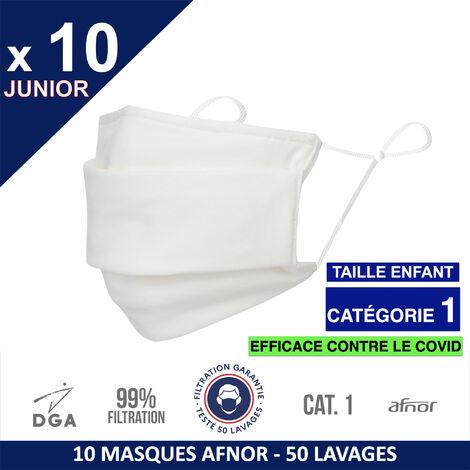 HEROLAB - 10 masques en tissu lavables et réutilisables UNS1 -ENFANT (3-15 ans ) Afnor DGA - CATEGORIE 1- Filtration 99% - 50 lavages - BLANC