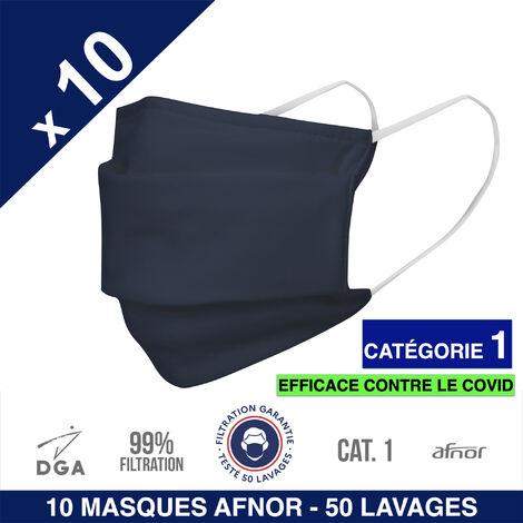 HEROLAB - 10 masques en tissu lavables et réutilisables UNS 1 - Grand Public Afnor DGA - CATEGORIE 1- Filtration 99% - 50 lavages - BLEU
