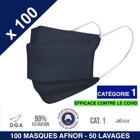 HEROLAB - 100 masques en tissu lavables et réutilisables UNS 1 - Grand Public Afnor DGA - CATEGORIE 1- Filtration 99% - 50 lavages - BLEU
