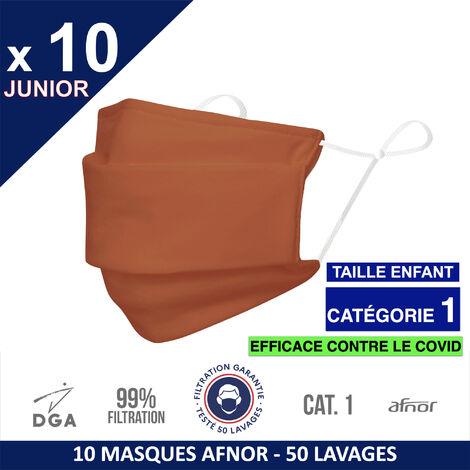 HEROLAB - 10 masques en tissu lavables et réutilisables UNS1 -ENFANT (3-15 ans ) Afnor DGA - CATEGORIE 1- Filtration 99% - 50 lavages - ORANGE