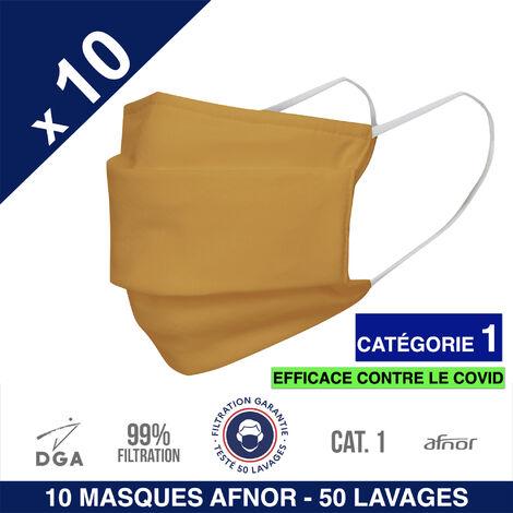 HEROLAB - 10 masques en tissu lavables et réutilisables UNS 1 - Grand Public Afnor DGA - CATEGORIE 1- Filtration 99% - 50 lavages - JAUNE