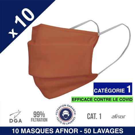 HEROLAB - 10 masques en tissu lavables et réutilisables UNS 1 - Grand Public Afnor DGA - CATEGORIE 1- Filtration 99% - 50 lavages - ORANGE