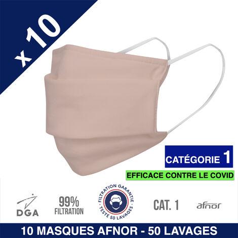 HEROLAB - 10 masques en tissu lavables et réutilisables UNS 1 - Grand Public Afnor DGA - CATEGORIE 1- Filtration 99% - 50 lavages - ROSE