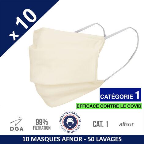 HEROLAB - 10 masques en tissu lavables et réutilisables UNS 1 - Grand Public Afnor DGA - CATEGORIE 1- Filtration 99% - 50 lavages - IVOIRE (FT96)