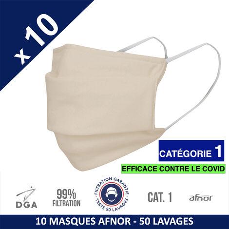 HEROLAB - 10 masques en tissu lavables et réutilisables UNS 1 - Grand Public Afnor DGA - CATEGORIE 1- Filtration 99% - 50 lavages - CREME (FT164)