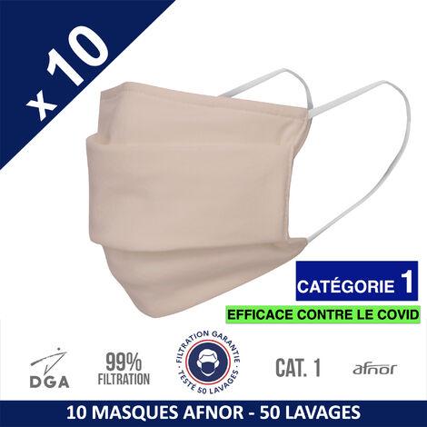 HEROLAB - 10 masques en tissu lavables et réutilisables UNS 1 - Grand Public Afnor DGA - CATEGORIE 1- Filtration 99% - 50 lavages - BLUSH (FT76)