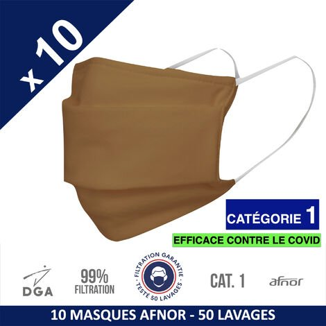 HEROLAB - 10 masques en tissu lavables et réutilisables UNS 1 - Grand Public Afnor DGA - CATEGORIE 1- Filtration 99% - 50 lavages - CARAMEL (FT135)