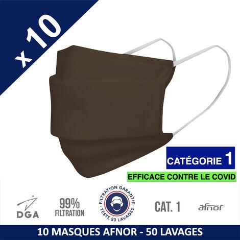 HEROLAB - 10 masques en tissu lavables et réutilisables UNS 1 - Grand Public Afnor DGA - CATEGORIE 1- Filtration 99% - 50 lavages - CHOCOLAT (FT104)
