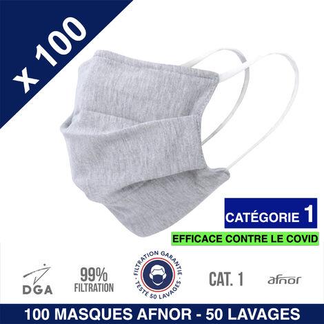 HEROLAB - 100 masques en tissu UNS 1 - Grand Public Afnor DGA - CATEGORIE 1- Filtration 99% - 50 lavages - GRIS