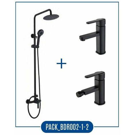 Pack Serie Roma - barra de ducha negro mate + grifo lavabo + grifo bidé