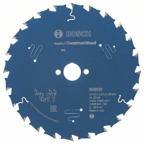 Disco de sierra circular 160x20mm T24 Bosch Expert for Construct Wood