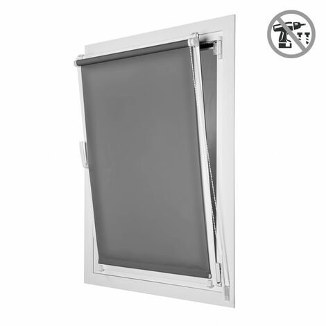 Store Enrouleur Tamisant EasyFix, installation facile sans perçage,Gris, 45x180cm