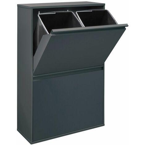 Arregui Basic CR604-B Poubelle de recyclage en acier, poubelle de tri sélectif, 4 seaux, 4 x 17L (68L), anthracite - gris foncé anthracite
