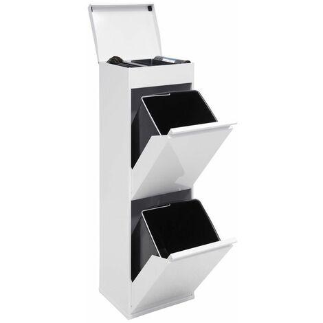 Arregui Top CR221-B Poubelle de recyclage en acier, poubelle de tri sélectif, 2 seaux, avec plateau supérieur multifonction, 2 x 17L (34L), blanc - blanc