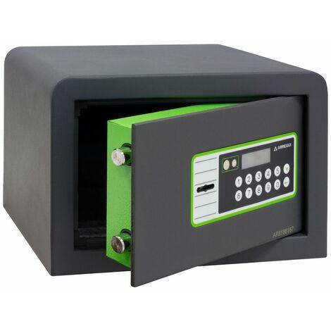 Arregui Supra 240010 Coffre-fort à poser, 6 mm, double sécurité : ouverture à clé et à code électronique, 20 x 31 x 20 cm, 8 L - gris foncé