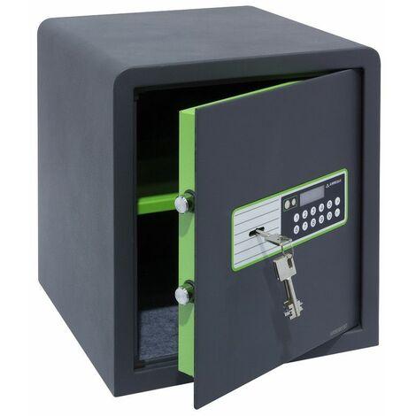 Arregui Supra 240060 Coffre-fort à poser, 6 mm, double sécurité : ouverture à clé et à code électronique, 38 x 35 x 36 cm, 39 L - gris foncé