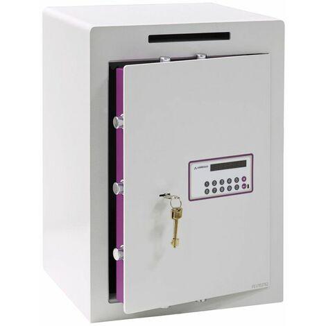 Arregui Forma Evolution 150080-SL Coffre-fort à poser avec fente de dépôt, 6 mm, double sécurité : ouverture à clé et à code électronique, 55 x 38,5 x 36 cm, 59 L - blanc