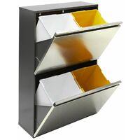 Arregui Vario CR605 Poubelle de recyclage en acier inoxydable, poubelle de tri sélectif, 4 seaux, 4 x 16L (64L) - inox
