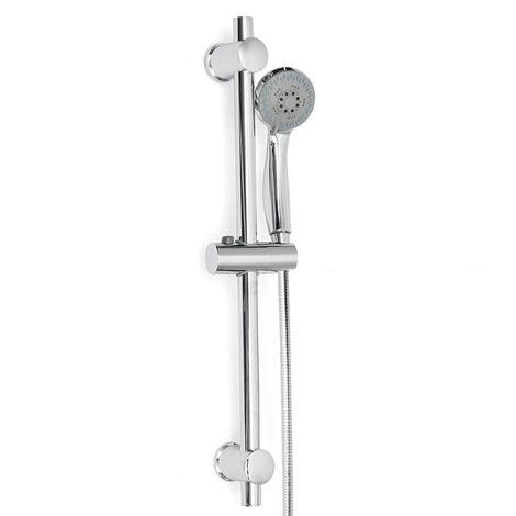 Kit Columna de ducha Cabezal de ducha Barra de ducha Soporte ajustable Baño de cromo en acero inoxidable C Sasicare