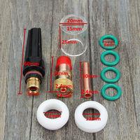 Kit de juego de boquillas de alúmina de cuerpo de collar de lente de gas TIG 10pcs / set para antorcha de soldadura TIG WP-17/18/26 Sasicare