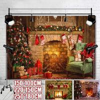 Navidad Tema árbol Sartén Calcetín Chimenea Regalo Fiesta de Navidad Fotografía Telón de fondo de Navidad para imágenes Telón de fondo Decoraciones Accesorios de estudio fotográfico (C (250x180CM)) Navidad