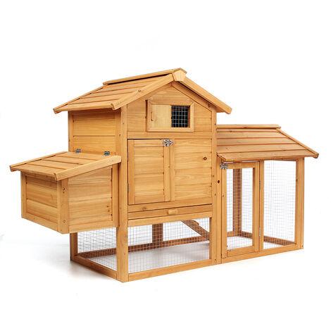 2-tier Chicken Coop Wooden Bunny/Hen Cage Pet House 91.5*151*64cm