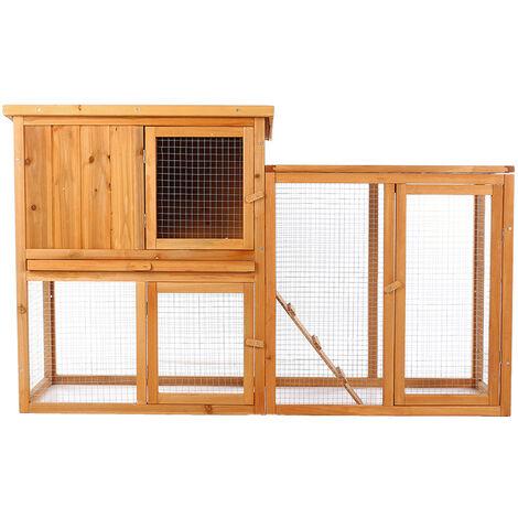 2-tier Chicken Coop Wooden Bunny/Hen Cage Pet House 86.5X144X47cm