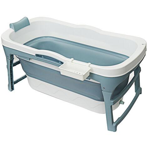 Folding Bathtub 142x60x58cm Blue Portable Bathroom Capacity Soaking Tub
