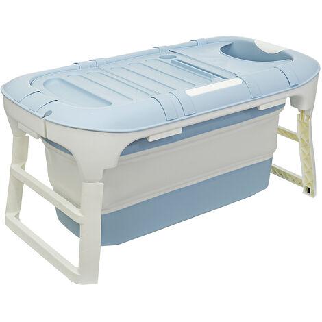 Folding Bathtub 114x60x55cm Blue Portable Bathroom Capacity Soaking Tub