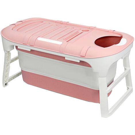 Folding Bathtub 114x60x55cm Pink Portable Bathroom Capacity Soaking Tub