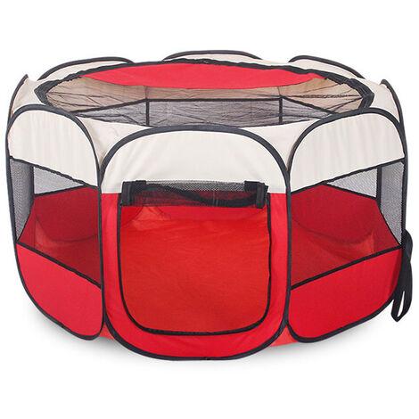 Foldable Pet Dog Cat Playpen Tent Cat Cage Nest House red 91X91X58CM
