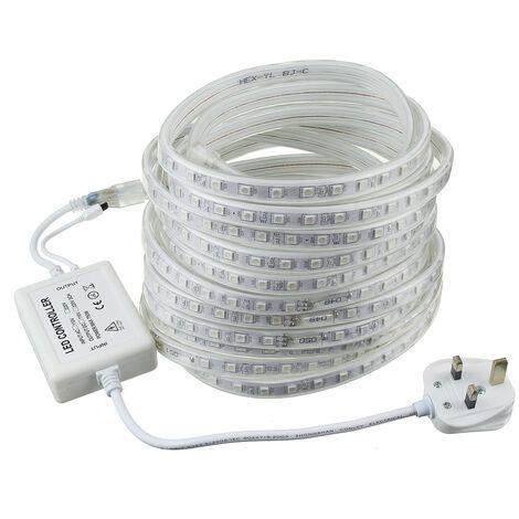 220V 240V LED Strip Lights Color Changing 5050 SMD Decorative Lamp Waterproof Tape Rope 8M