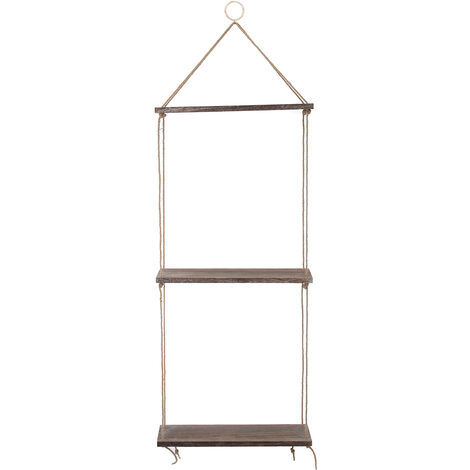 3 Tiers Wooden Hanging Rope Storage Shelf Wall Mounted Floating Decoration