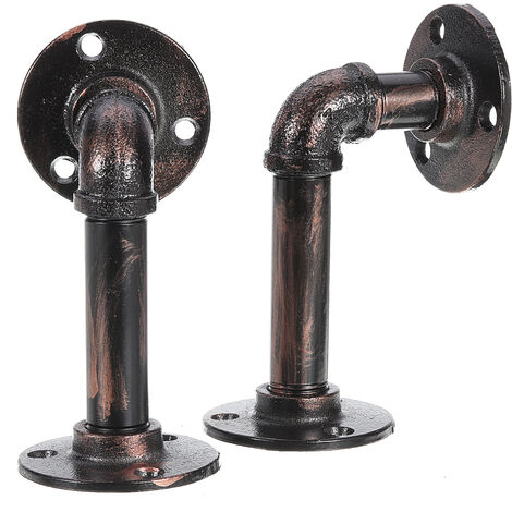 2Pcs Industrial Iron Pipe Bracket Wall Mounted Copper