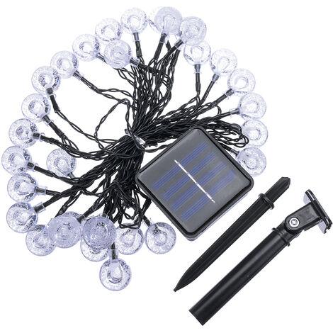 Solar Powered Garden Xmas Party 30LED Fairy String Crystal Ball Outdoor Lights MultiColor 6.5M 30Balls