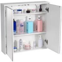 Mirror Cabinet Wall Mounted Cabinet Bathroom Cupboard Shelf Storage 60X60X14.5CM