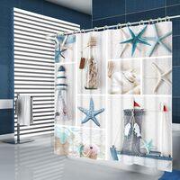 Summer Beach Starfish Bathroom Style Curtains Nordic Printing Anti-mold Waterproof Shower Curtain For Bathroom Bathroom Decoration