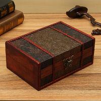 Vintage Handmade Decorative Jewelry Treasure Lock Chest Wooden Storage Box Large