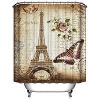 Waterproof Eiffel Tower Shower Curtain + 12 Hooks 180x200cm Sasicare