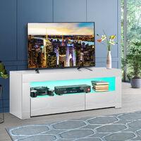 High Gloss TV Stand 120X35X45cm Modern TV Unit Cabinet Stand w/ RGB LED White
