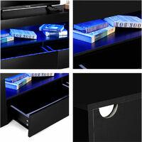 High Gloss TV Stand 120X35X45cm Modern TV Unit Cabinet Stand w/ RGB LED Black