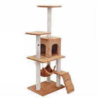 Cat Scratcher Tree Scratching Post Climbing Tower 125*40*50cm Brown
