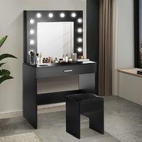 Dressing Table w/ LED Lights Mirror Makeup Desk Stool Vanity Set Black