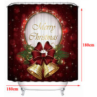 180x180cm Cartoon Christmas Tie Shower Curtain