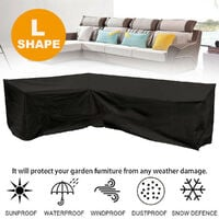 Waterproof L Shape Furniture Cover Outdoor Garden Sofa Protective Cover Black 270x270x90CM