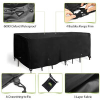 Garden Patio Furniture Cover Oxford Polyester Rectangular Waterproof w/ Bag 180*120*74cm Black