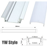LED Aluminum Channel Case and Milk PC Cover Kit Accessories For Strip Light white 1pcs YW 30CM