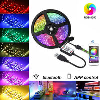 5M 30LED Strip Lights 5050 RGB bluetooth Control Dimmable TV Back Lighting 5V With usb controller