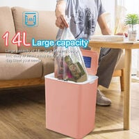 Automatic Touchless Bin Smart Induction Trash Can Kitchen Bathroom Bedroom 14L(Pink)